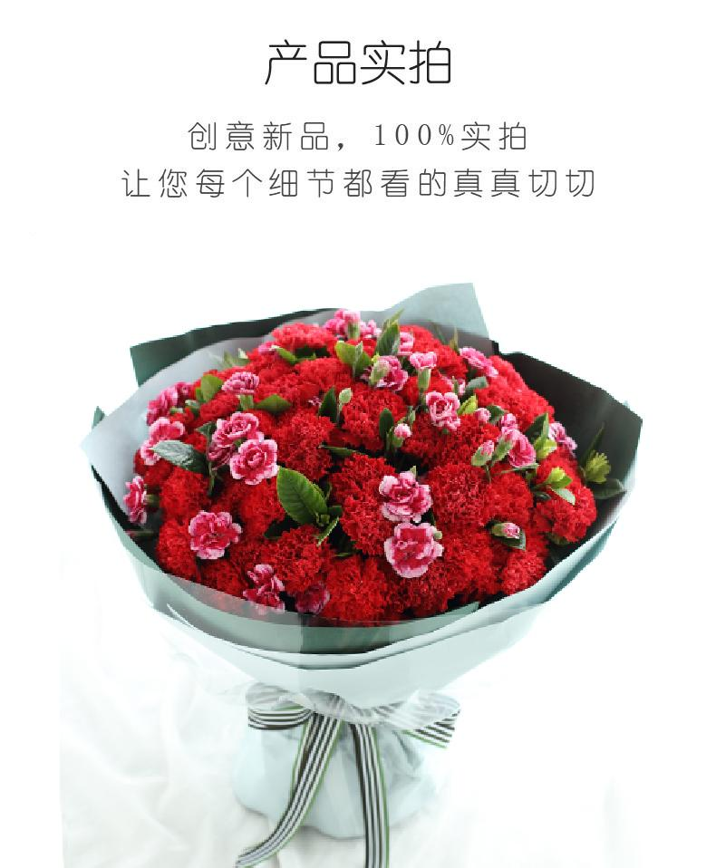 幸福万年长-红色康乃馨66枝,白边紫色多头康乃馨15枝,栀子叶2扎实拍图片