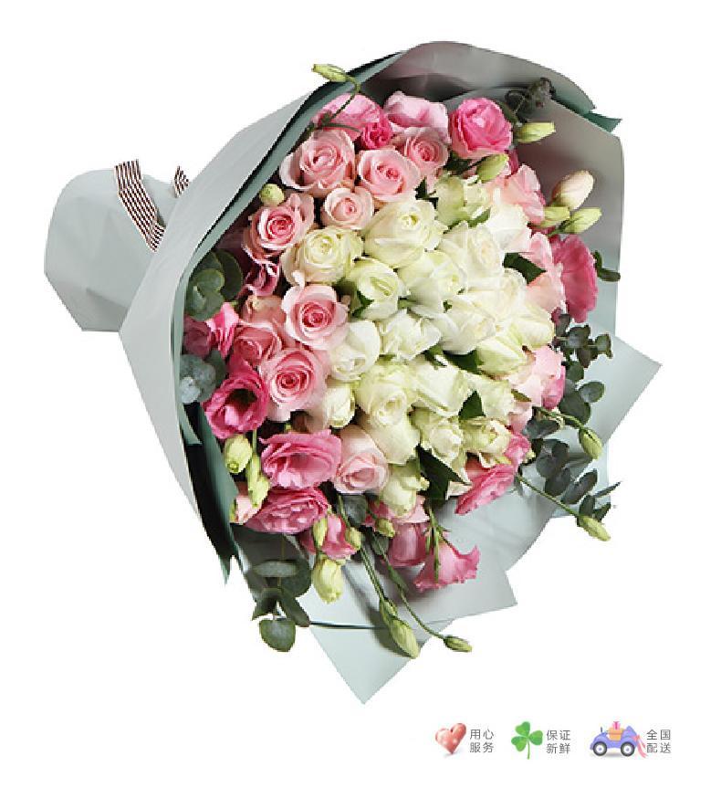 甜美公主-白玫瑰22枝,粉佳人粉玫瑰14枝,粉色桔梗5枝-鲜花速递
