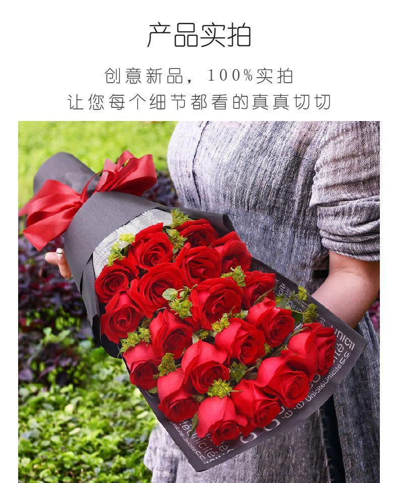 19朵红色玫瑰礼盒-一生守候实拍图片