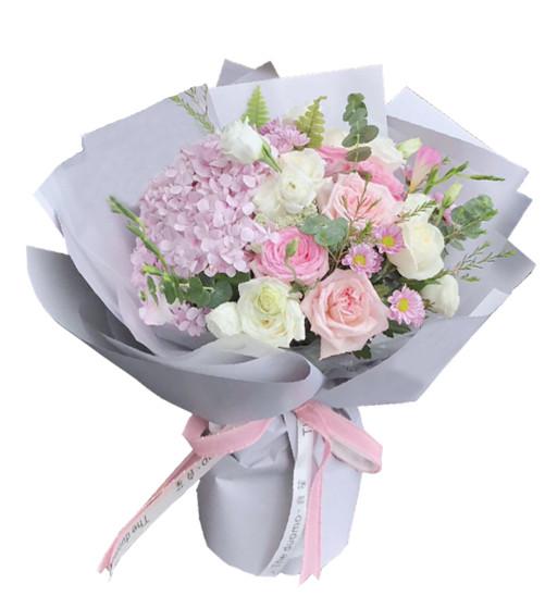 11枝各色玫瑰,1枝绣球1-1